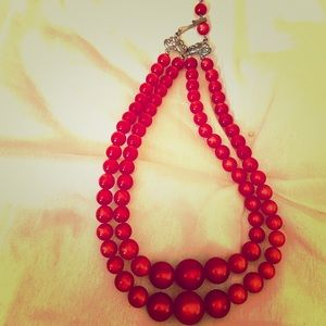 Vintage Red Moonglow Necklace